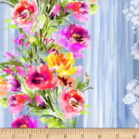 Timeless Treasures Digital Blossom Watercolor Flower Stripe Blue