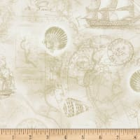 Timeless Treasures Nautical Mile Nautical Map Cream