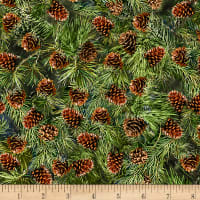 Timeless Treasures Flannel Forest Pine Cones Pine