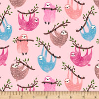 Timeless Treasures Just Hanging All Over Sloths Pink