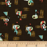 Hoffman Barkcloth A Little Retro Vibe Sputnik Geo Coconut