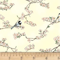 Hoffman Metallic A Little Birdie Told Me Cherry Blossoms & Chickadees Sunny/Silver