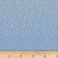 Hoffman Metallic Mixed Metals Square Dots Sky/Metallic