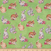 Northcott Bunny Love Realistic Bunnies Green/Multi