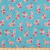 Northcott Bunny Love Floral Bunnies Turquoise