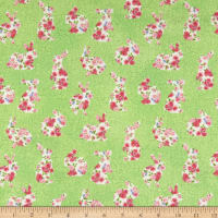 Northcott Bunny Love Floral Bunnies Green