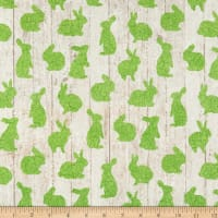 Northcott Bunny Love Crackle Bunnies Green