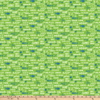Northcott Go Fish Seaside Script Lime