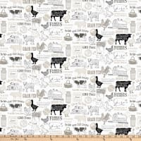 Northcott Farm To Table Animals And Script White