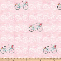 Northcott April Showers Bicycles Pink Multi