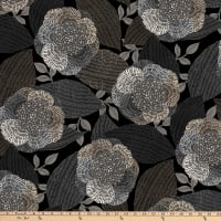 Northcott Dolce Vita Floral With Leaves Black