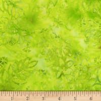 Northcott Banyan Batik Boho Beach Flowers Lime Green