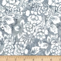 Northcott Banyan Batik Boho Beach Flowers Grey/White