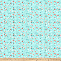 Northcott Sew Sweet Packed Floral Turquoise/Coral
