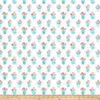 Northcott Sew Sweet Potted Floral Coral/Turquoise