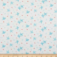 Northcott Sew Sweet Birds Light Turquoise