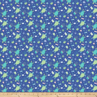 Northcott Mermaid Kitties Turtles Dark Blue