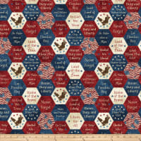 Northcott Stars & Stripes 7 Big American Hexies Navy Multi