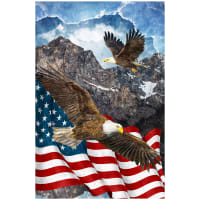 "Northcott Digital Stars & Stripes 7 Soaring High 24"" Panel Navy"