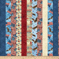 Northcott Stars & Stripes 7 American Strip R Beige/Multi