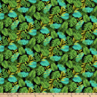 Northcott Tiger Tales Tropical Leaves Black