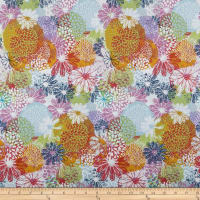 In The Beginning Fabrics Doodle Blossoms Flower Garden Multi