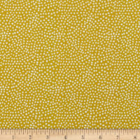 In The Beginning Fabrics Doodle Blossoms Small Dots Butterscotch