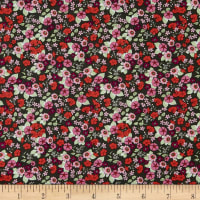 In The Beginning Fabrics Garden Delights Impatiens Red/Black