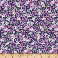 In The Beginning Fabrics Garden Delights Impatiens Pink/Navy