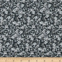 In The Beginning Fabrics Garden Delights Impatiens Gray/Black