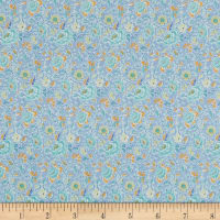 In The Beginning Fabrics Garden Delights Dotted Flowers Blue