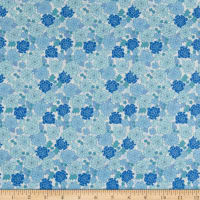 In The Beginning Fabrics Garden Delights Carnation Blue/White