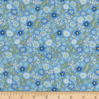 In The Beginning Fabrics Garden Delights II Garden Blooms Periwinkle