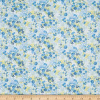 In The Beginning Fabrics Garden Delights II Roses Rich Blue