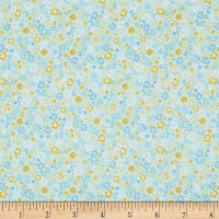 In The Beginning Fabrics Garden Delights II Posies Light Aqua
