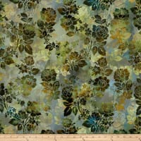 In The Beginning Fabrics Diaphanous By Jason Yenter Night Bloom Leaf
