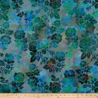 In The Beginning Fabrics Diaphanous By Jason Yenter Night Bloom Teal