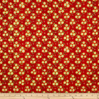 In The Beginning Fabrics Hey Diddle Diddle Flower Trios Digital Print Tomato