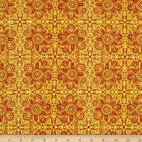 In The Beginning Fabrics Hey Diddle Diddle Woodcut Digital Print Red/Yellow