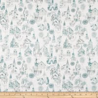 In The Beginning Fabrics Believe Church Scenes Teal