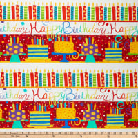 "In The Beginning Fabrics Happy Birthday Border Stripe Digital Printed 24"" Stripes Red"