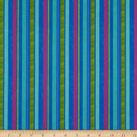 In The Beginning Fabrics Happy Birthday Ribbon Stripes Digital Print Blue