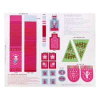 "Lewis & Irene Christmas Glow Elf Accessories 35.25"" Panel Glow In The Dark Pink/White"