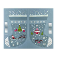 "Lewis & Irene Christmas Glow Stocking 35.5"" Panel Glow In The Dark Grey"