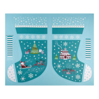 Lewis /& Irene Glow In The Dark Xmas Panel NEW 2019 Christmas Bunting Teal//Grey