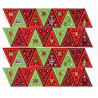"Lewis & Irene Christmas Glow Bunting 35"" Panel Glow In The Dark Red/Green"