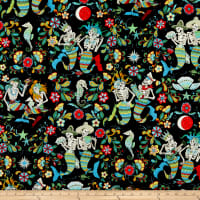 Alexander Henry Fabrics Esqueletos del Mar Skeletons Black/Multi