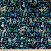 Alexander Henry Fabrics Esqueletos del Mar Skeletons Navy/Blue