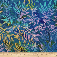 Batik by Mirah Cream Cherise Palm Leaves Jolting Blue