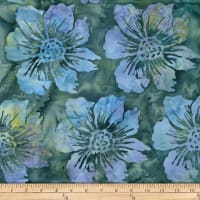 Batik by Mirah Cream Cherise Florals Grassley Green